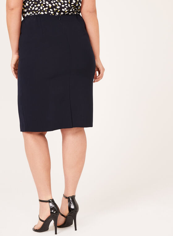 Contrast Piping Pencil Skirt , Blue, hi-res
