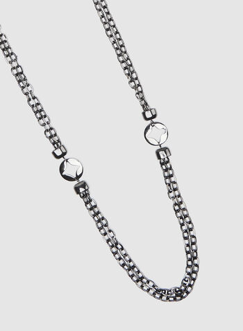 Gunmetal Chain Necklace, Grey, hi-res