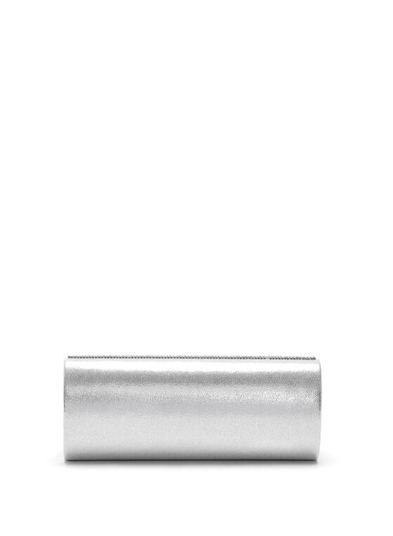 Crystal Flapover Clutch, Silver, hi-res