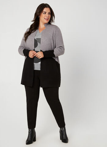 Two Tone Long Sleeve Cardigan, Grey, hi-res,  cardigan, colour block, long sleeves, notched collar, knit, fall 2019, winter 2019