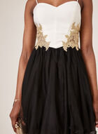 Blondie Nites - Embroidered Bodice Tulle Dress, Black, hi-res