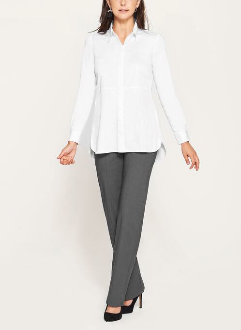 Long Sleeve Button Down Shirt, White, hi-res