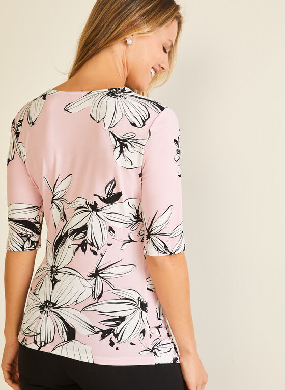 Floral Print Twist Detail Top, Multi