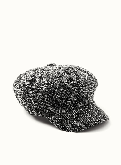 Tweed Newsboy Hat, Black, hi-res