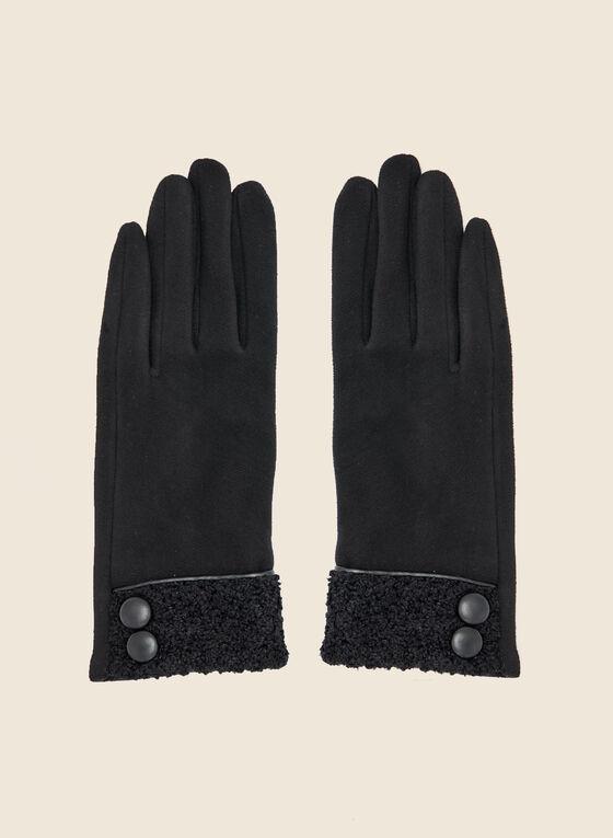 Button Detail Terry Knit Gloves, Black