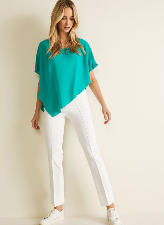 Asymmetric Cape Sleeve Blouse, Green