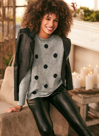 Polka Dot Dolman Sleeve Sweater, Grey,  fall winter 2020, scoop neck, dolman, long sleeve, ribbed, contrast, polka dot, pattern, comfort, stretch, sweater, pullover