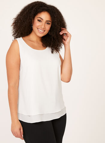Sleeveless Double Layer Top, Off White, hi-res