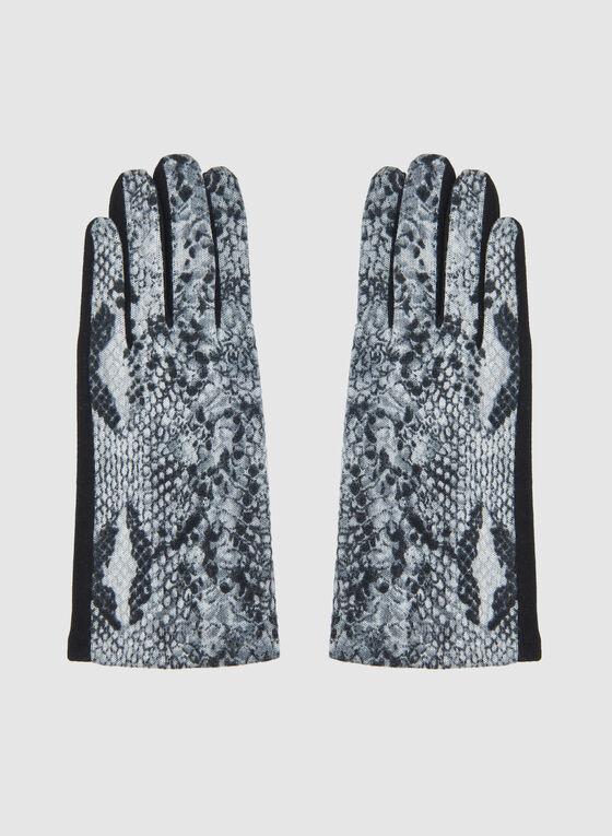 Snakeskin Print Gloves, Grey