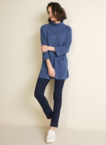 Turtleneck Tunic Sweater, Blue,  sweater, knit, tunic, long sleeves, turtleneck, rib knit, fall winter 2020
