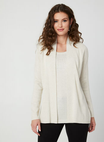 Knit Fooler Cardigan With Tank, Off White,  knit, cardigan, fooler top, rhinestones, long sleeves, fall 2019, winter 2019