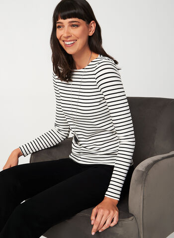 Long Sleeve Stripe Print Top , White,  long sleeves, canada, rayon, top, blouse, stripes, boat neck, stretch, rib, fall 2019, winter 2019