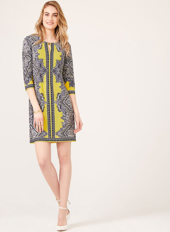 Paisley Print Popover Jersey Dress, Yellow, hi-res