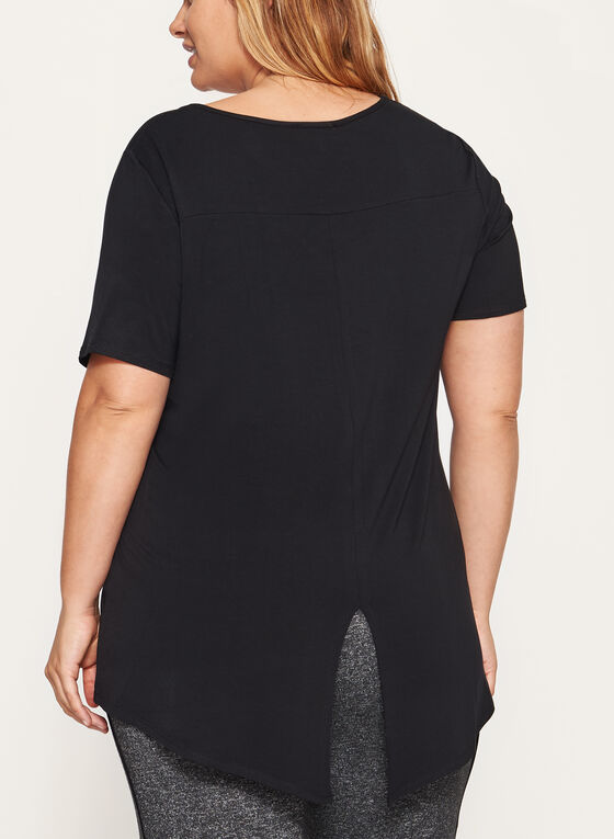 Short Sleeve Split Back T-Shirt, Black, hi-res