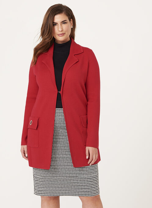 Ness - Notch Collar Cardigan, Red, hi-res