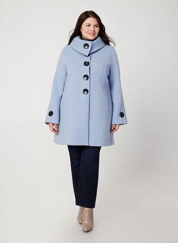 Wool-Like Envelope Coat, Blue,  coat, envelop collar, faux wool, long sleeves