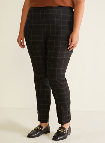 Windowpane Print Pull-On Pants, Black,  pants, pull-on, straight leg, windowpane, fall winter 2020