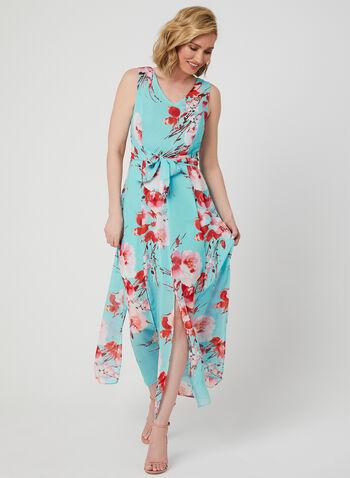 Emma & Michele - Robe en mousseline fleurie, Bleu,  robe de jour, sans manches, col V, mousseline, fleurs, fentes, printemps été 2019