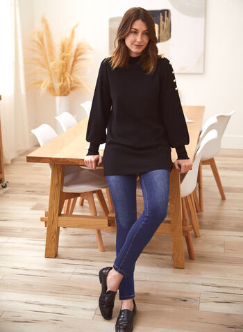 Pearl Detail Top, Black,  fall winter 2021, mock neck, long sleeves, studs, pearls, inserts, balloon sleeves, tunic