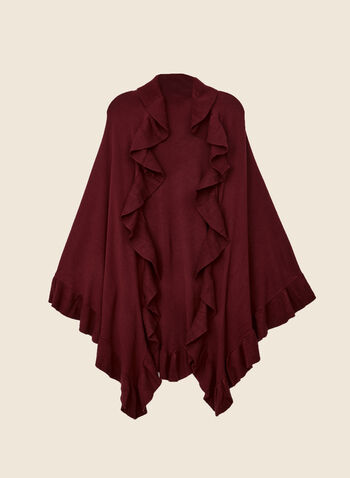 Ruffle Trim Wrap, Red,  fall winter 2020, wrap, ruffle, scarf
