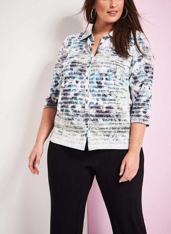 Floral Print Burnout Shirt, Green, hi-res