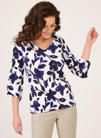 Bell Sleeve Floral Print Blouse, Blue, hi-res