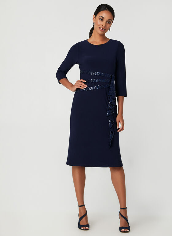 Robe à manches longues et détails sequins, Bleu