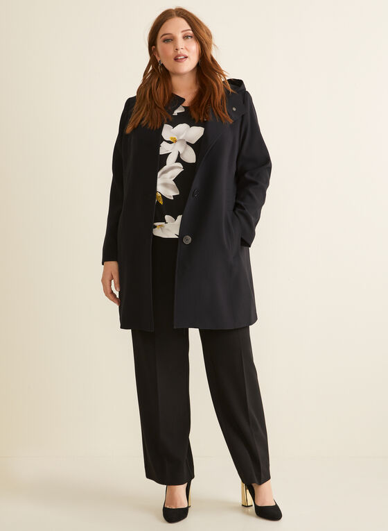 Portrait - Hooded A-Line Coat, Black