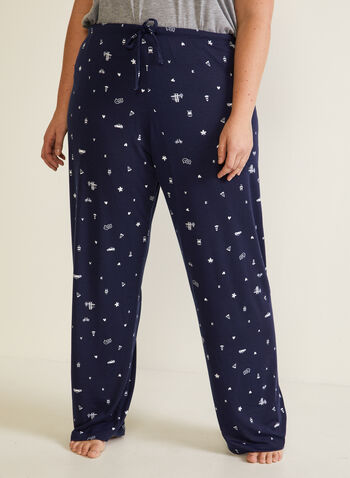 Abstract Print Pyjama Pants, Blue,  pyjama, fall winter 2020, pants