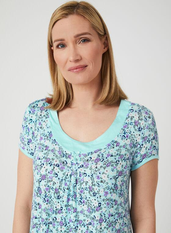 René Rofé - Chemise de nuit fleurie contrastante, Bleu