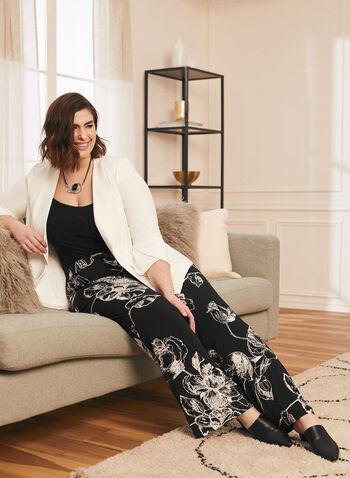 Floral Print Wide Leg Pants, Black,  pants, wide leg, floral print, modern, jersey, pull-on, spring summer 2020