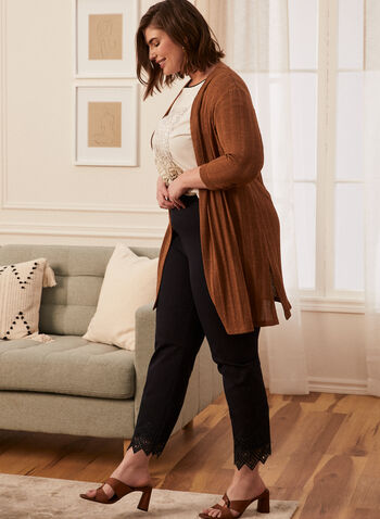 3/4 Sleeve Cardigan, Beige,  spring summer 2021, cardigan, knitted, twist yarn, open-front, cover-up,3/4 sleeve