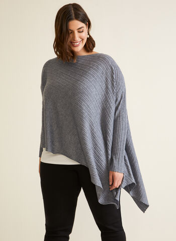 Asymmetric Tunic Sweater, Grey,  fall winter 2020, sweater, tunic, knit, long sleeves, boat neck, draped, asymmetric, ribbed