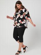 Floral Print Angel Sleeve Top, Black, hi-res