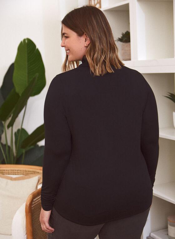Shirred Detail Turtleneck Sweater, Black