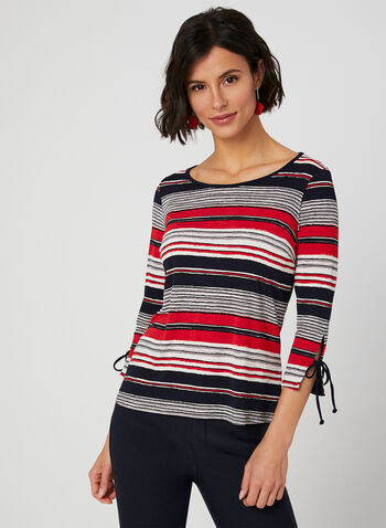 Stripe Print ¾ Sleeve Top, Blue, hi-res,  Canada, stripe print, 3/4 sleeves, tie, spring 2019, summer 2019