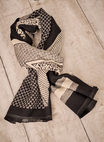Mixed Print Reversible Scarf, Black,  accessories, scarf, mixed print, frayed, reversible, fall winter 2021