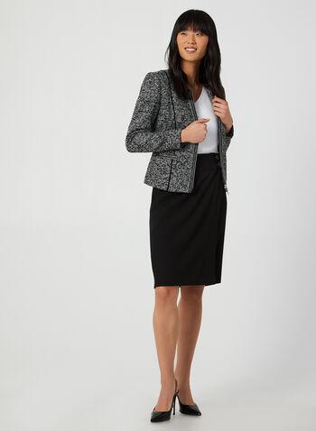 Jupe droite style portefeuille, Noir, hi-res,  jupe, droite, boutons, portefeuille, automne hiver 2019