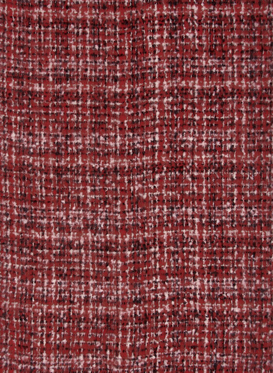 Fringed Checkered Scarf, Red