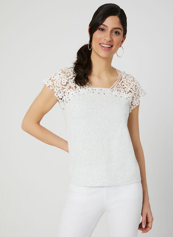 Ness - T-shirt à détails crochet et perles, Gris