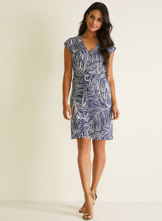 Tropical Print Belted Dress, Blue