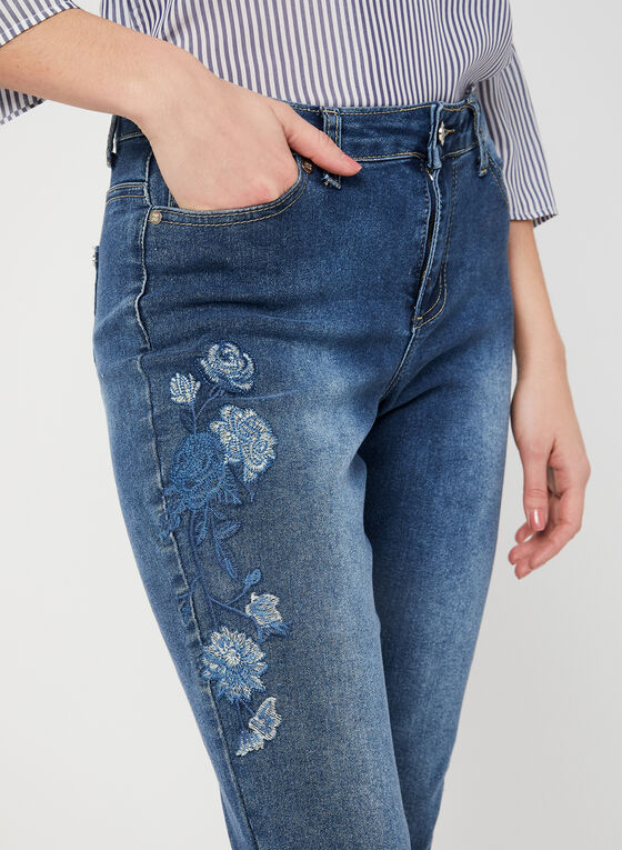 GG Jeans - Embroidered Capri Pants, Blue, hi-res