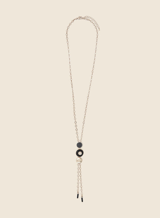 Geometric Crystal Detail Bolo Necklace, Black