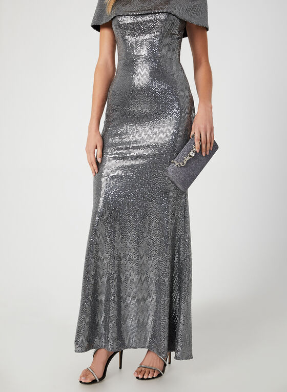 Metallic Mermaid Dress, Silver, hi-res
