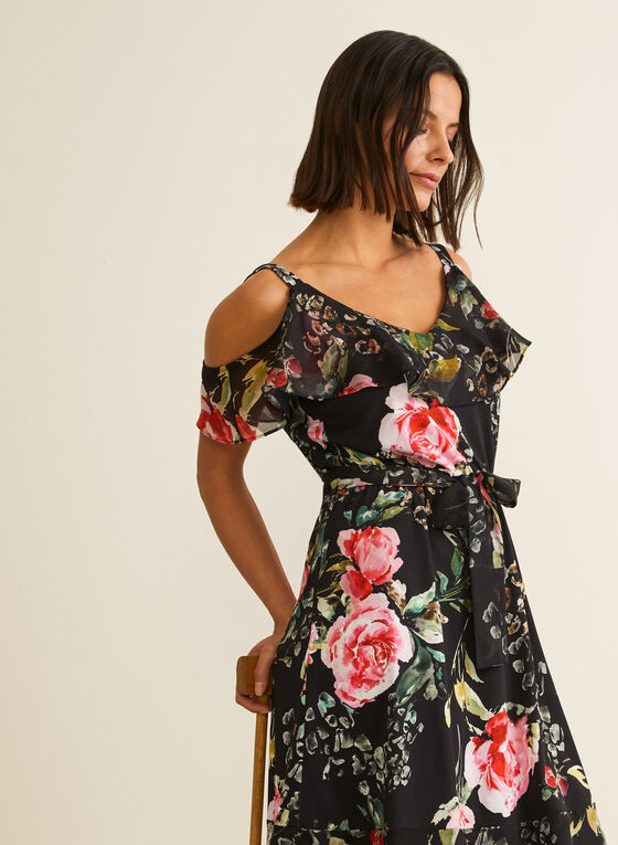 Joseph Ribkoff - Cold Shoulder Floral Dress, Black