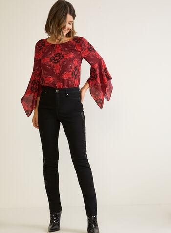 Embellished Straight Leg Jeans, Black,  jeans, straight leg, embellished, fall winter 2020