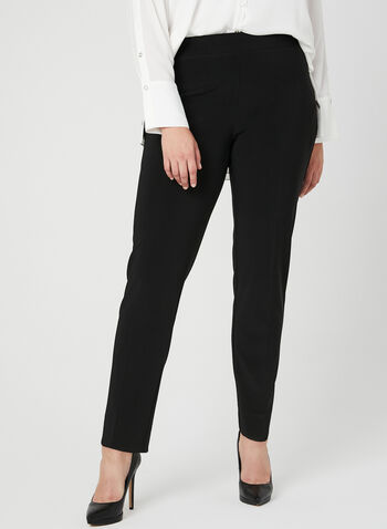 Joseph Ribkoff - Modern Fit Straight Leg Pants, Black,  Fall winter 2018, modern fit, straight leg, elasticized waist, back slits, ponte de roma