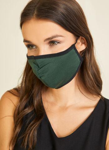 Masque en tissu uni en coton, Vert,  masque, uni, coton, ajustable, automne hiver 2020