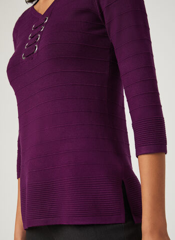 Lace-Up Ottoman Knit Sweater, Purple, hi-res