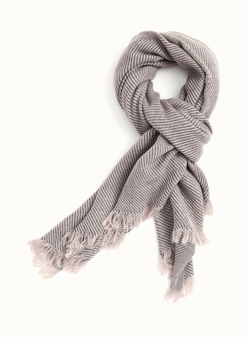 Fringed Pashmina Scarf, Grey, hi-res